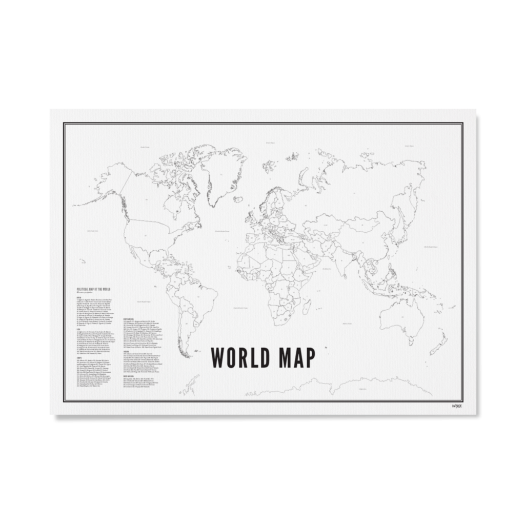 Wijck Poster Weltkarte 21x30cm