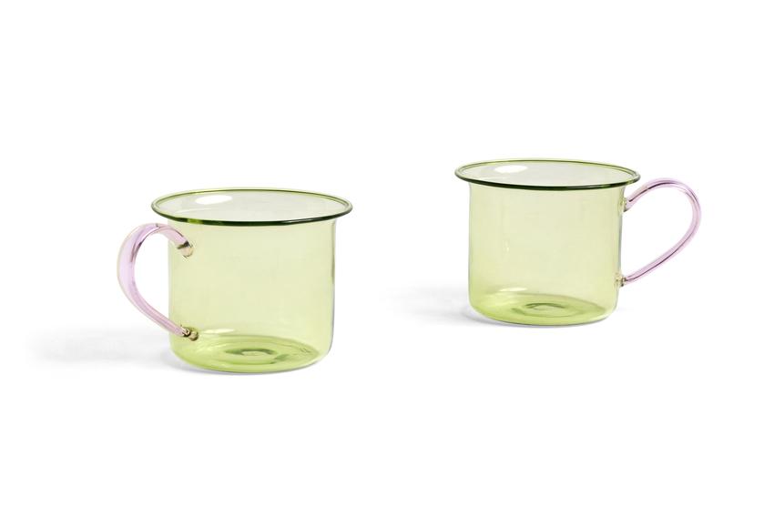 HAY Borosilicate 2Tassen Lime / Pink