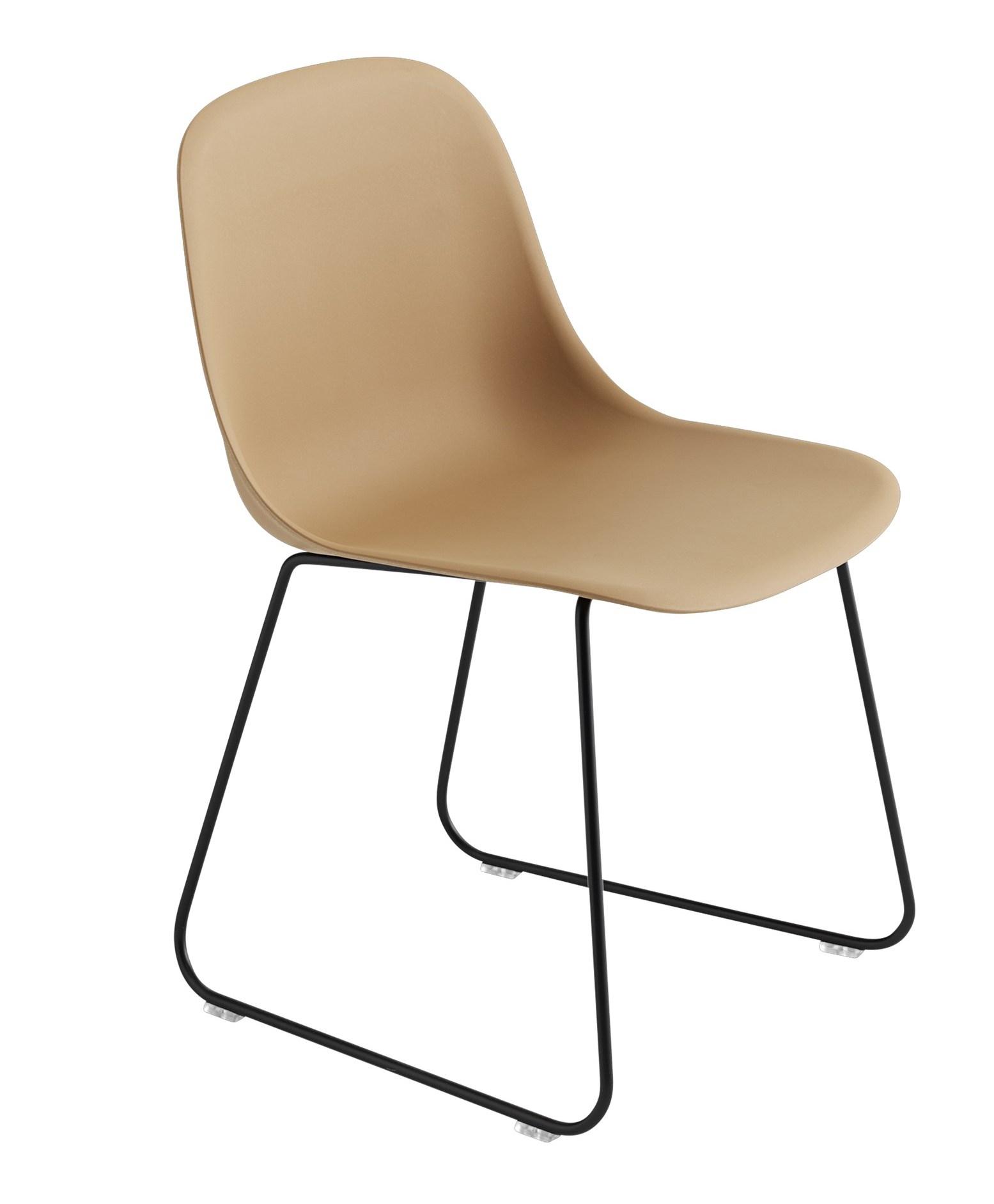 muuto Fiber Side Chair Sled Base ochre/ black