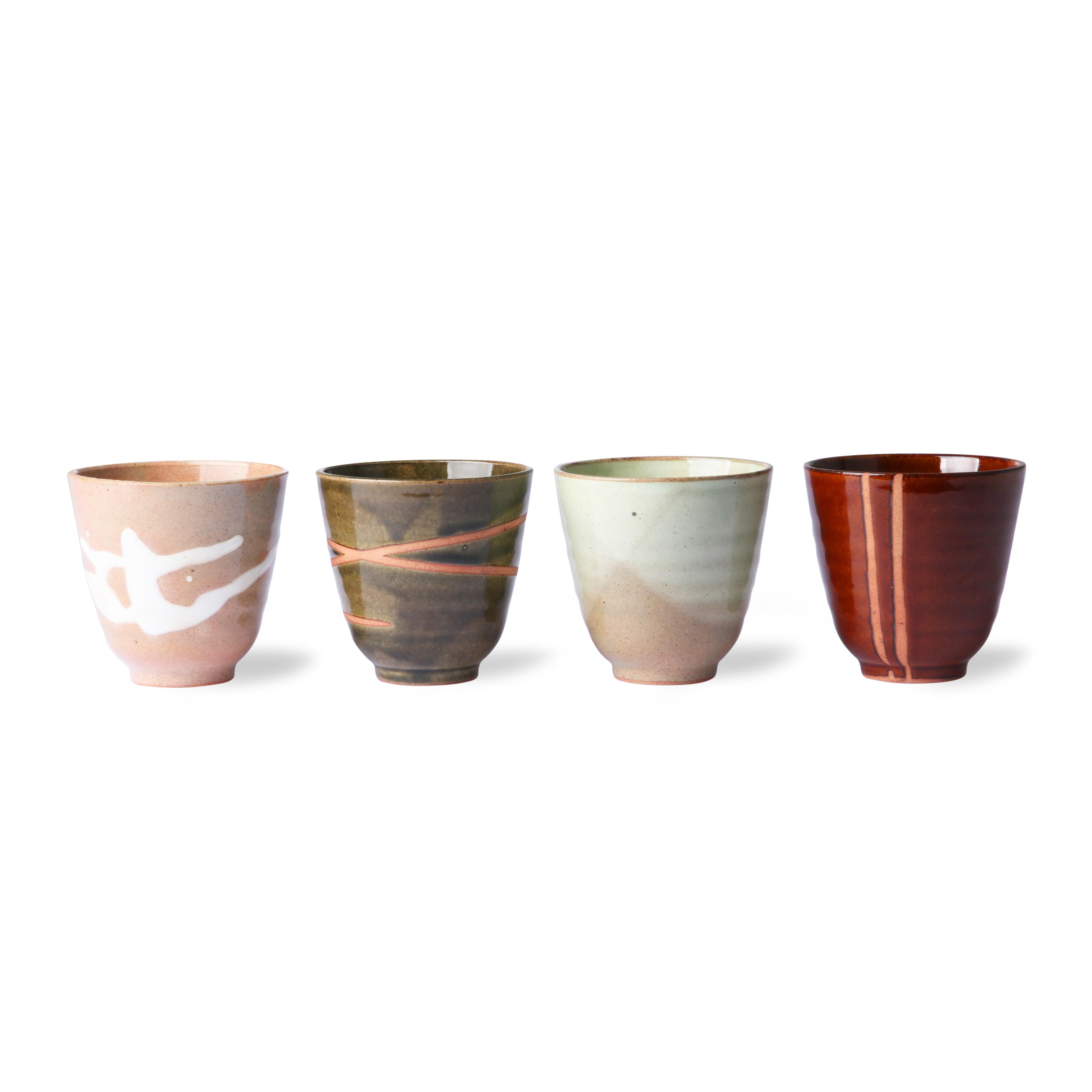 HK Living Kyoto Ceramics 4er Set Becher