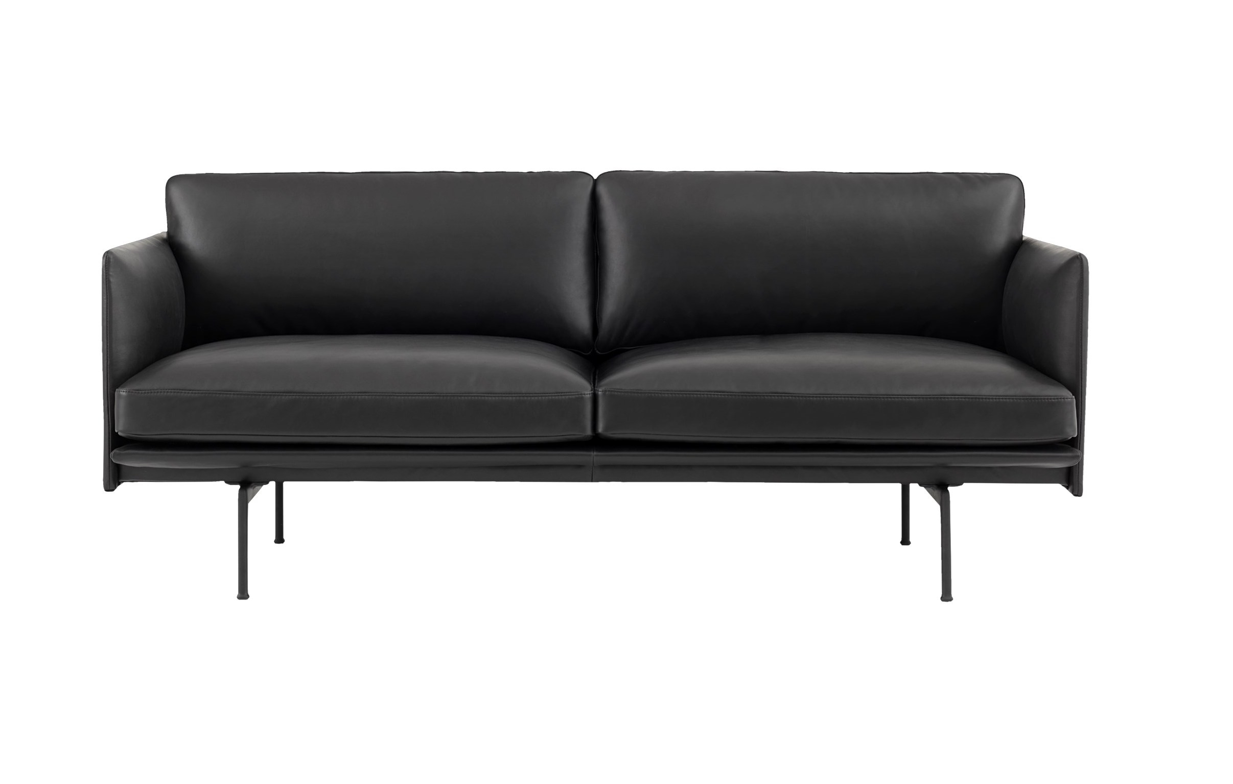 muuto Sofa Outline 2 Sitzer Silk Leder black