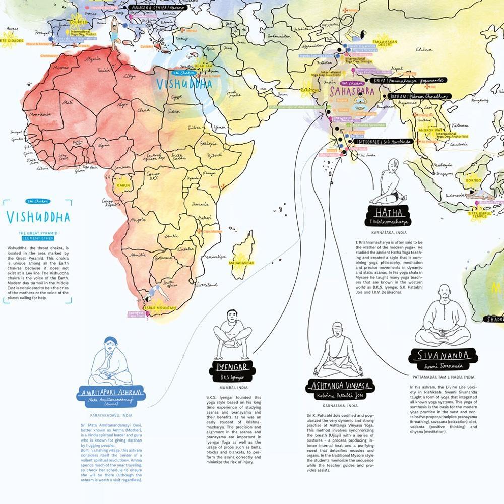Awesome Maps Yoga Weltkarte