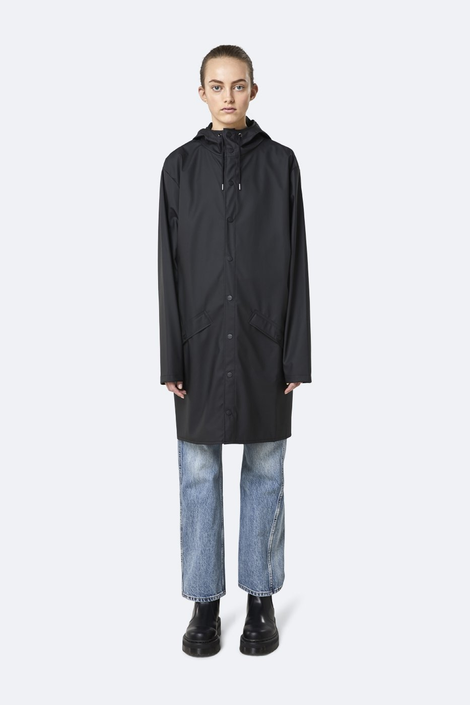 Rains Long Jacket schwarz unisex M/L