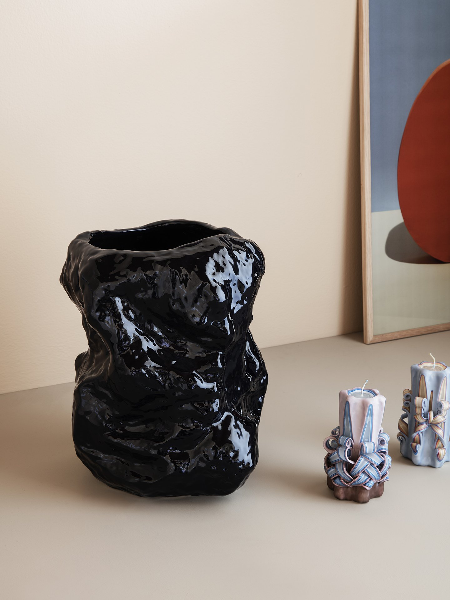 ferm livig Tuck Vase blue