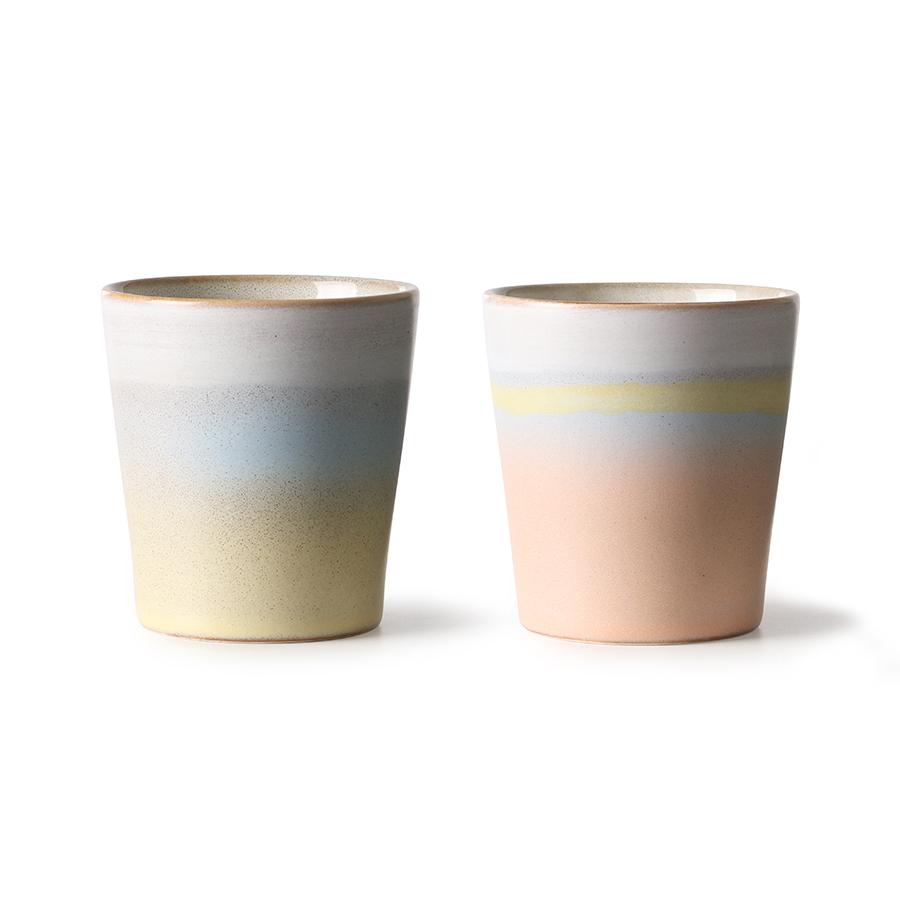 HK Living Ceramic 70's Becher Horizon 2er Set