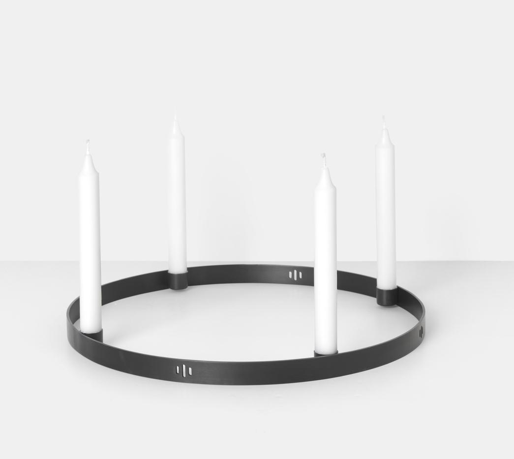 ferm living Kerzenständer Circle schwarz groß