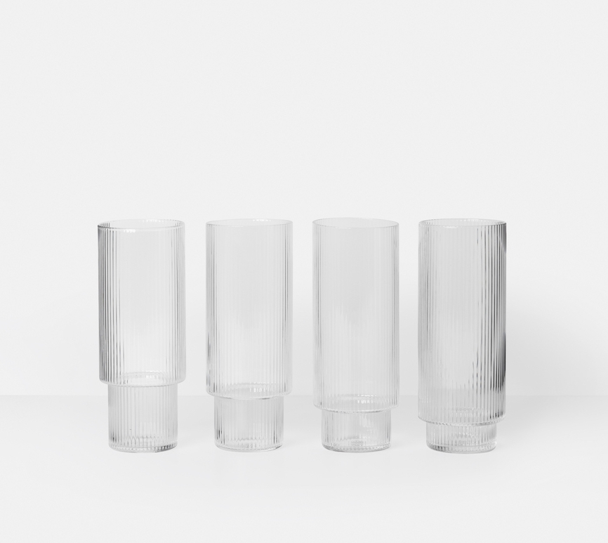 ferm living Ripple Long Drink Glas 4 Stück