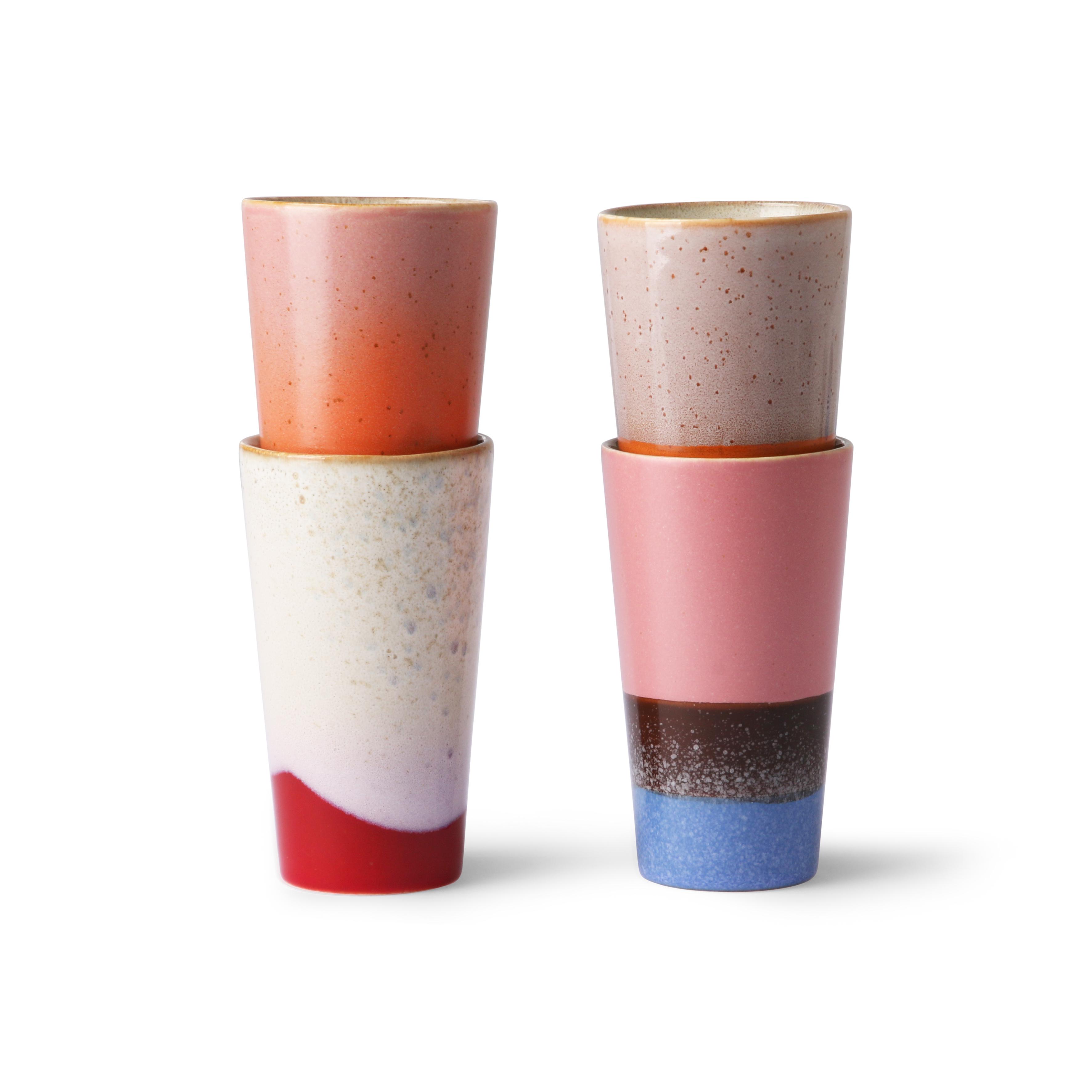 HK Living Ceramic 70's Latte Becher 4er Set