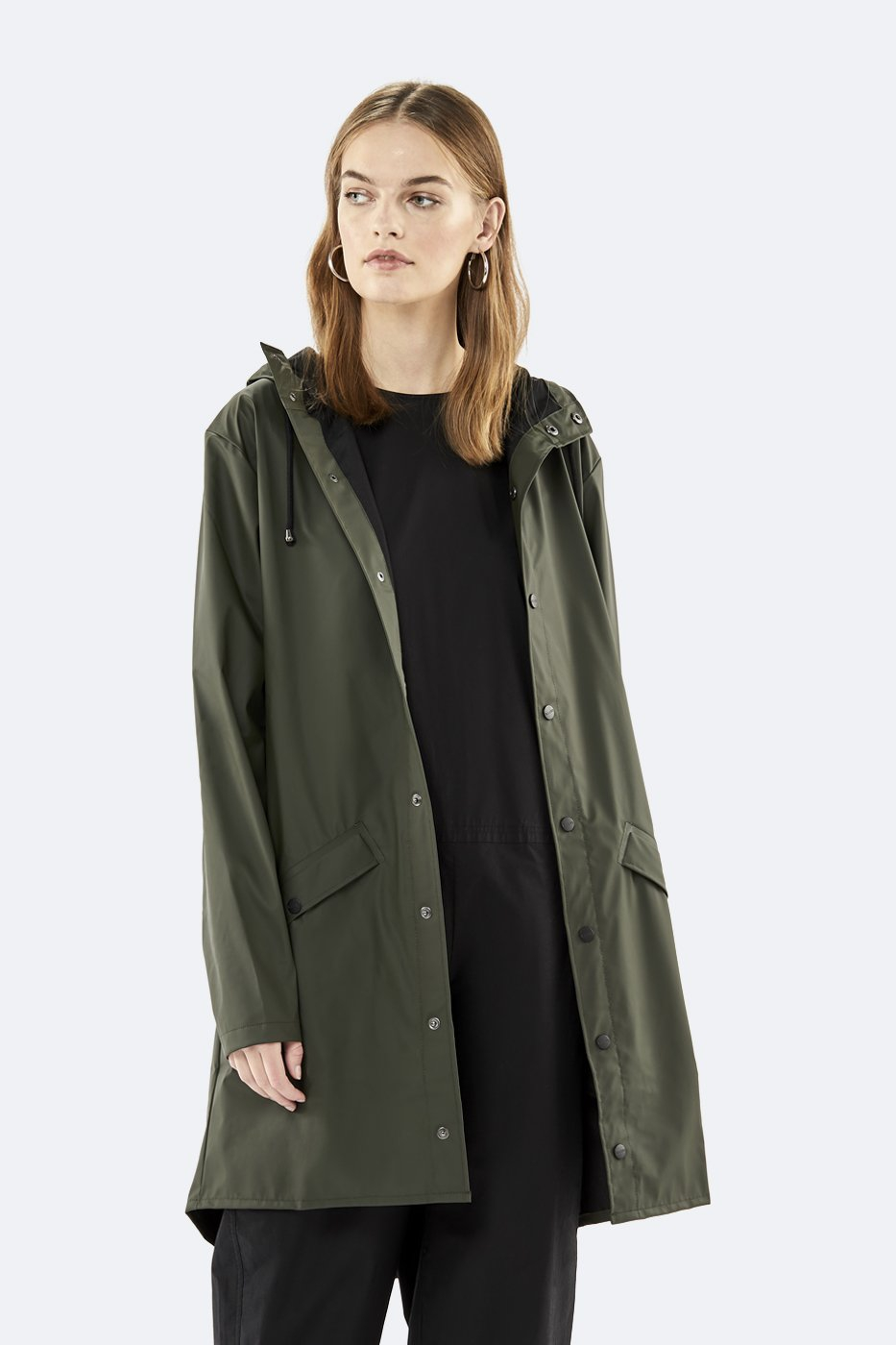 Rains Long Jacket green unisex S/M