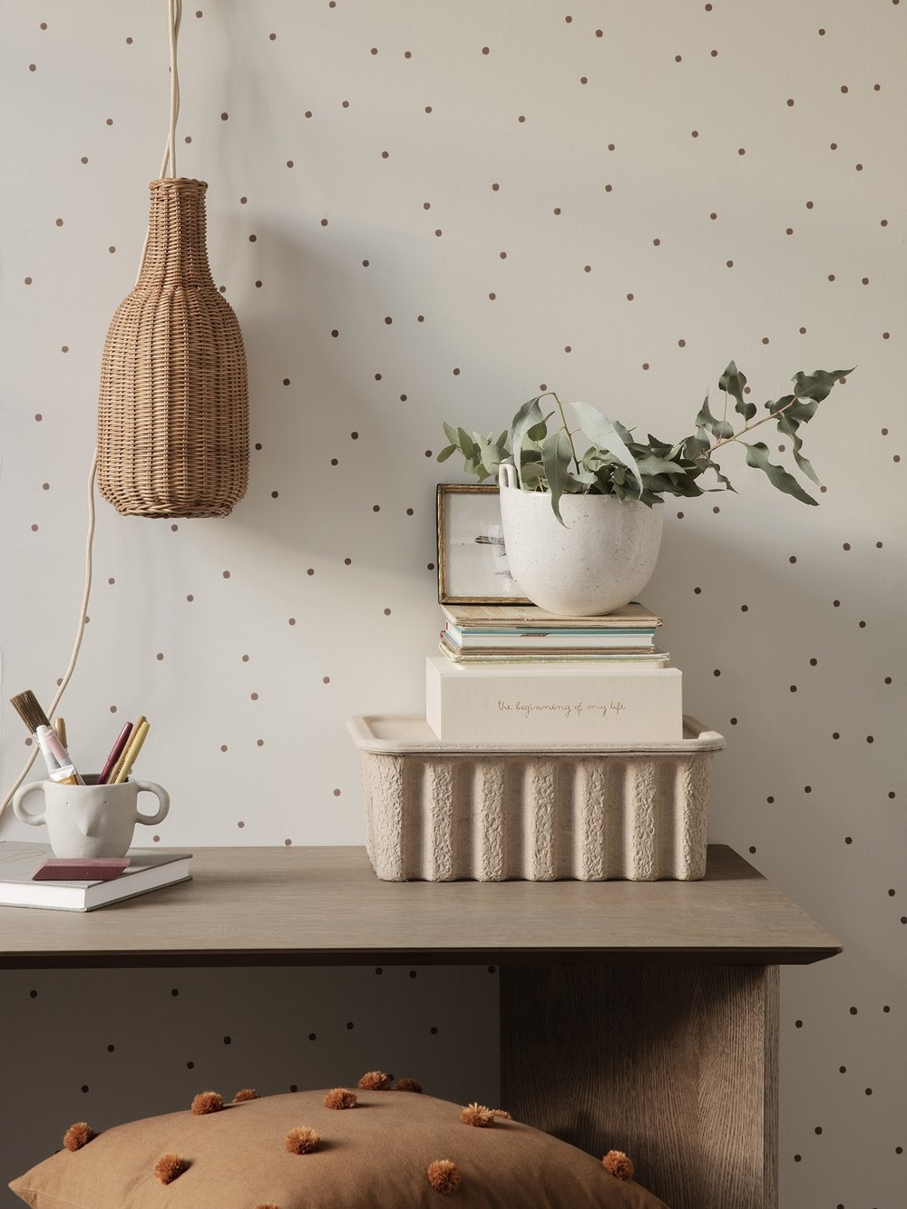 ferm living Kissen Dot Sugar/ Kelp mustard
