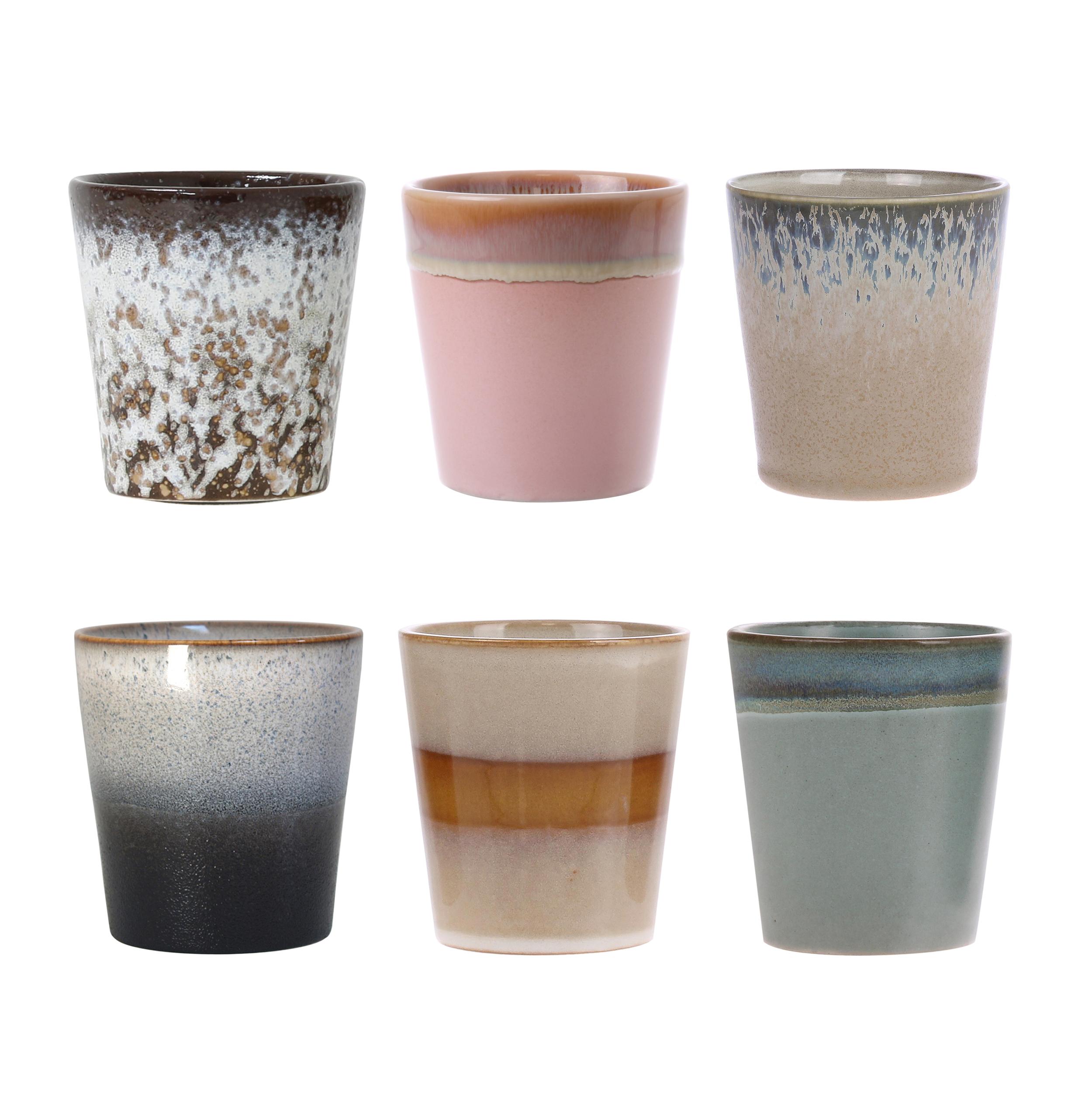 HK Living Ceramic 70's Becher 6er Set
