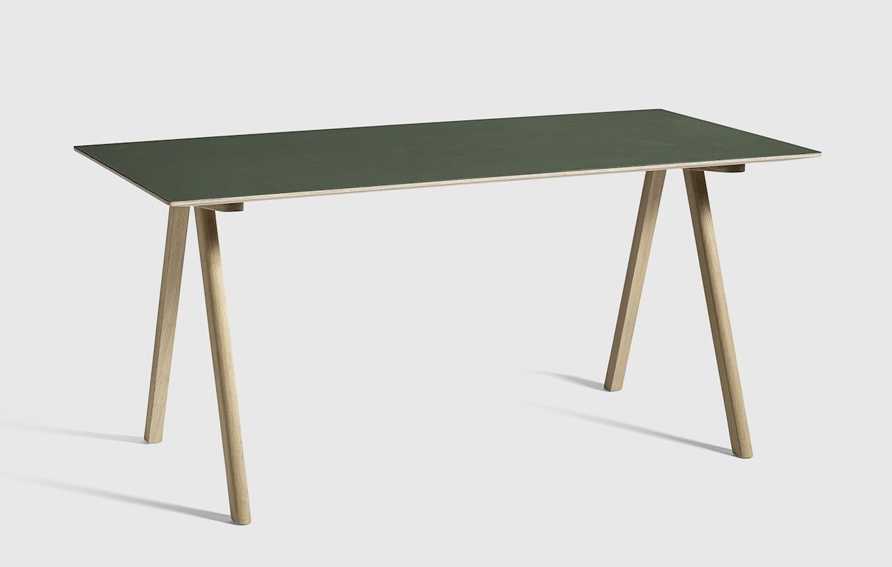 HAY CPH10 Tisch Eiche - Linoleum grün