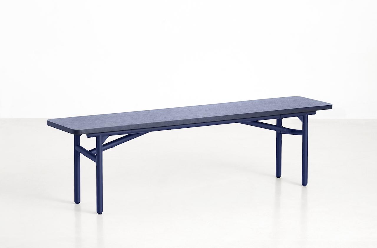 Woud Dieagonal Sitzbank blau