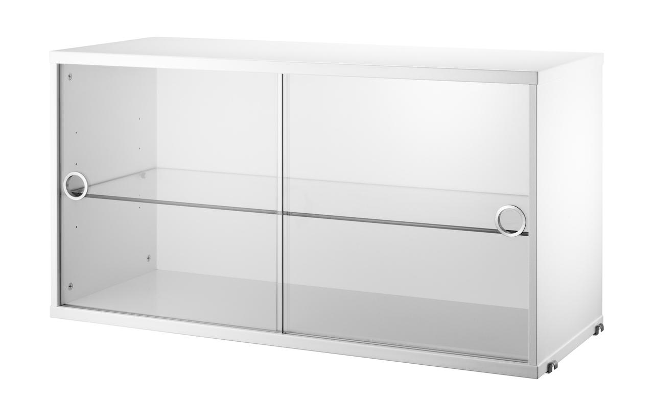 String Schrank mit Glas- Schiebetüren weiß